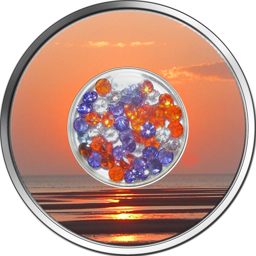 DIAMOND SUNSET Zirconia Silver Coin 10$ Fiji 2012