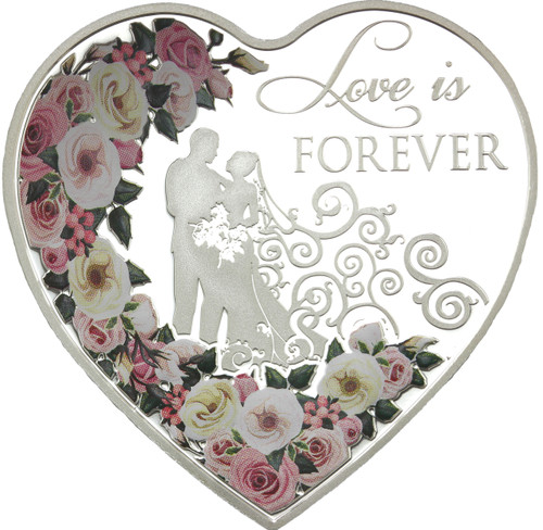 LOVE IS FOREVER Heart-Shaped Silver Coin 2018 Tokelau