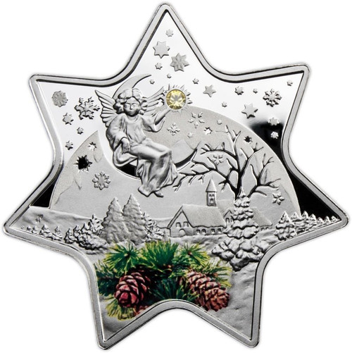 Christmas Star with Swarovski Crystal Proof Silver $2 Niue 2012