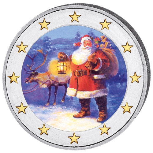 2 Euro Christmas Colored Coin with Santa Claus