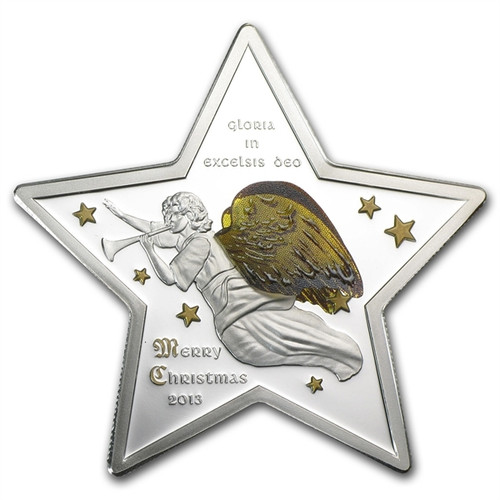 Christmas 3D Star Gloria Excelsis Deo Silver $5 Coin Cook Is. 2013