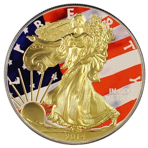 24 Carat Gold Plated Walking Liberty On A Solid 999 Fine Silver American Eagle Coin