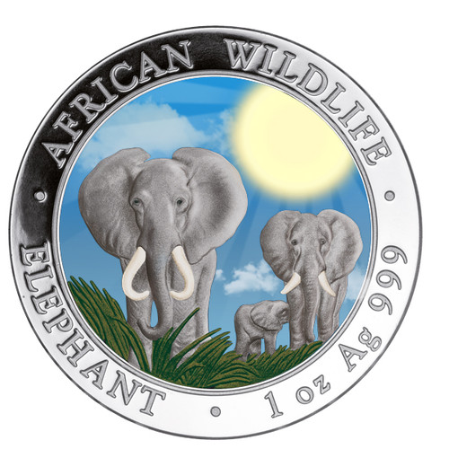2014 1 oz Silver Coin - Somalia African Elephant - Color Day