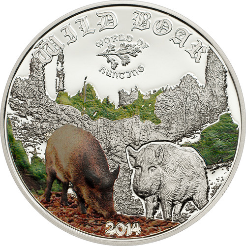 Cook Islands 2014 2$ World of Hunting - Color Wild Boar Silver Coin Proof