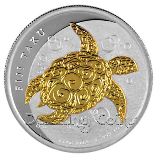 2013 1 oz Silver Gilded NZ Mint $2 Fiji Taku .999