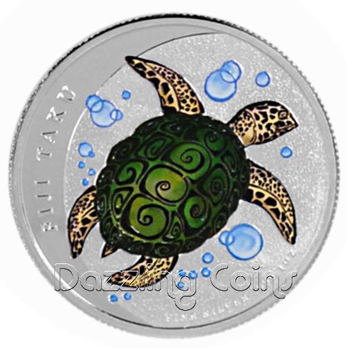 2013 1 oz Silver Color NZ Mint $2 Fiji Taku .999