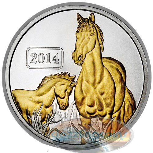 2014 Tokelau 1 Oz $5 Silver Year of the Horse Gilded