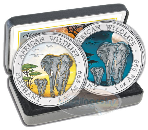 2015 Somalia 1 oz 2 Silver Coins- African Elephant - Color Day-Night Set
