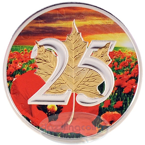 1 oz Silver .9999 Maple Leaf 25th Ann. Gilded with Poppies CA 2013