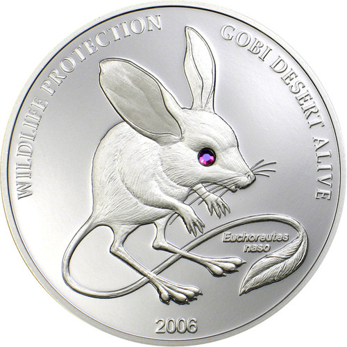 Long Eared Jerboa w/Swarovski crystal~2006 Mongolia 500 T Silver Proof coin