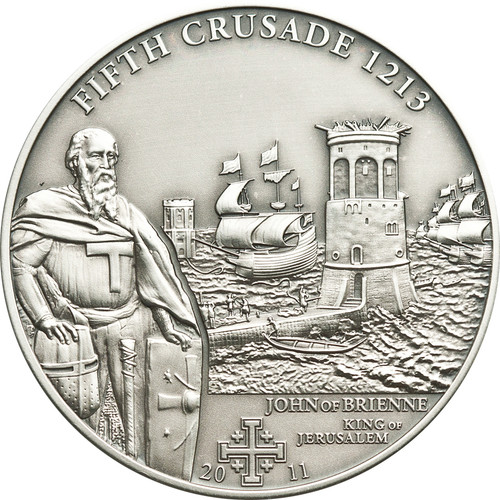 CRUSADE 5 John of Brienne Silver Coin 5$ Cook Islands 2011
