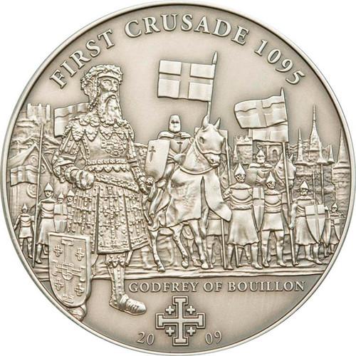 CRUSADE 1 Godfrey of Bouillon Silver Coin 5$ Cook Islands 2009