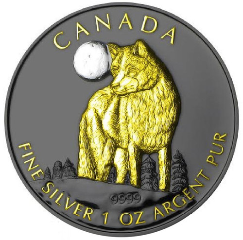 2011 Canada - Golden Enigma - The Wolf - Silver & Ruthenium & Gold Plated Coin