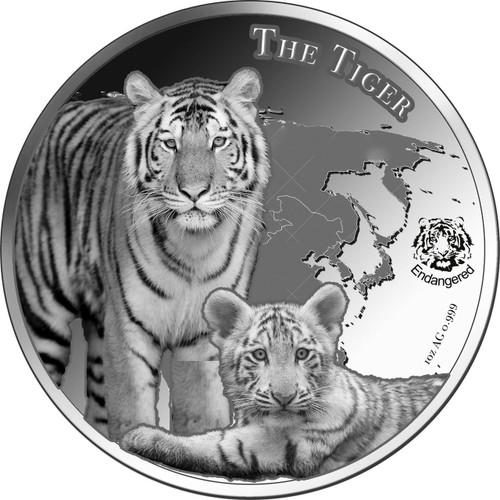 The Tiger - Silverline- $1 Niue Islands 2015 Proof - 1 oz. silver 2016