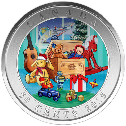 Holiday Toy Box - Lenticular 3D  50 cent Coin Canada 2015