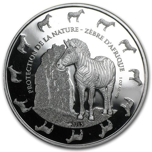 Zebra - 1,000 Francs CFA Benin 2015 - 1 oz. silver 2016