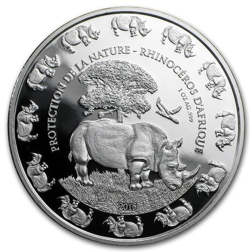 Rhino -  1,000 Francs CFA Benin 2015 - 1 oz. silver 2016