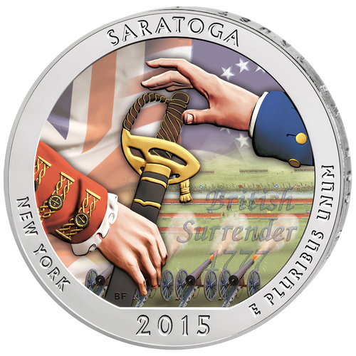 SARATOGA - NY - America the Beautiful - 2015 5 oz Color Silver Coin