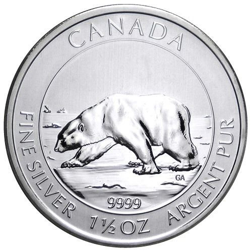 1 ,5 oz Silver Polar Bear  Coin $8  Canada 2013