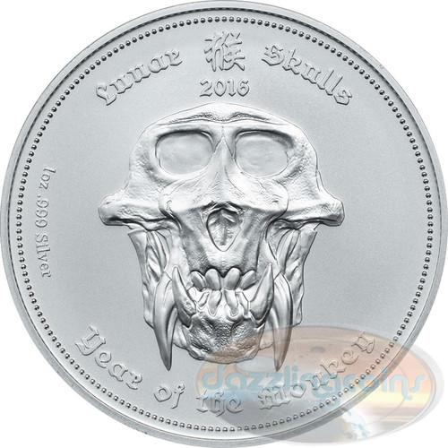 """2016 Palau """"Lunar Skulls"""" Year of the Monkey 1oz .999 Silver HR Coin"""