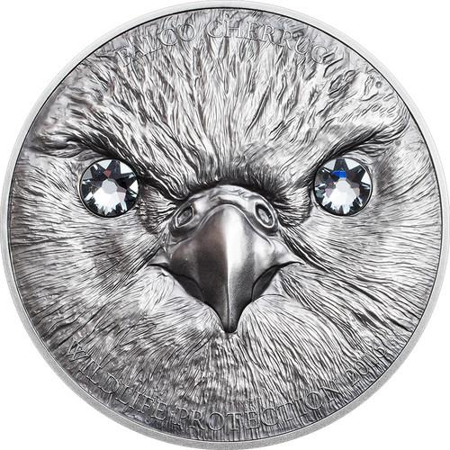 Saker Falcon - 2016 Mongolia 500 Togrog Silver SWAROVSKI
