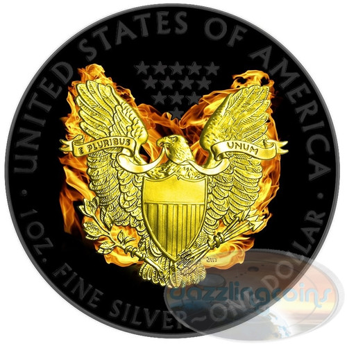 BURNING PHOENIX Silver Eagle $1 1oz Silver Ruthenium &Gold Coin 2015
