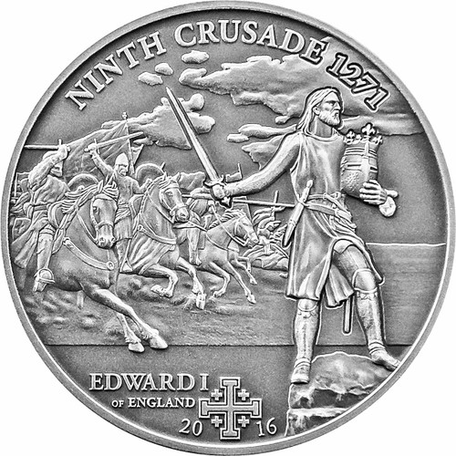 9th. CRUSADE - Edward I of England Silver Coin 5$ Cook Islands 2016