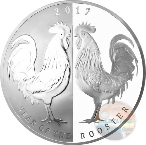 2017 Tokelau Mirror ROOSTER 1 oz -65 mm Silver Proof Coins