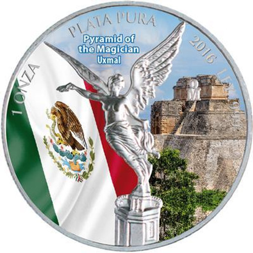 LIBERTAD - Pyramid of the MAGICIAN UXMAL - 2016 1 oz Silver Coin