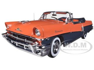 1956 Mercury MontClair Open Convertible with Continental Kit Persimmon / London Gray Metallic 1/18 Diecast Model Car Sunstar 5133