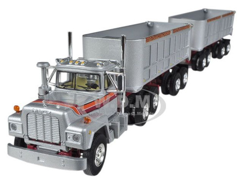 Mack R With Dual 22' End Dump Trailers Silver 1/64 Diecast