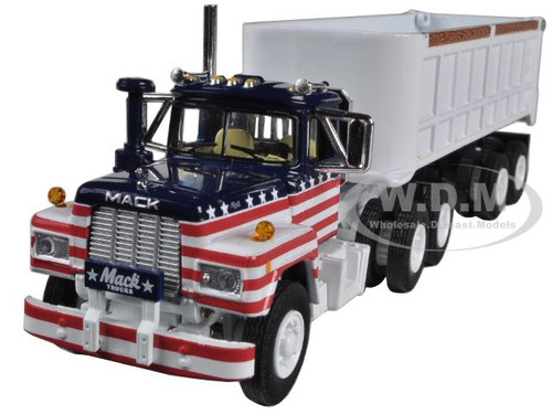 MACK R MODEL ALL AMERICAN WITH 22 END DUMP TRAILER 1/64