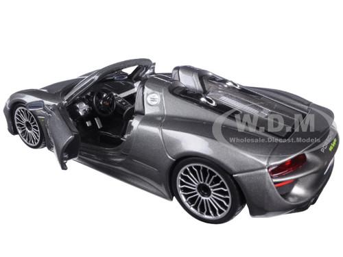 porsche 918 spyder grey 1 24 diecast model car bburago 21076. Black Bedroom Furniture Sets. Home Design Ideas