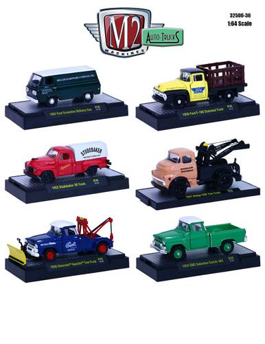 auto trucks 6 piece set release 36 in display cases 1 64. Black Bedroom Furniture Sets. Home Design Ideas