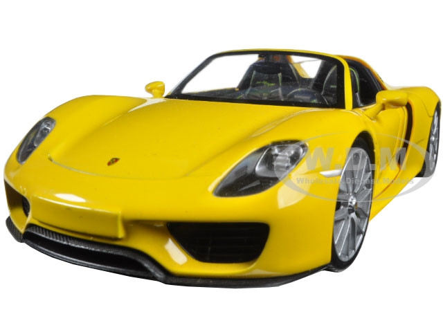 porsche 918 spyder yellow open roof 1 24 diecast model car welly 24055. Black Bedroom Furniture Sets. Home Design Ideas