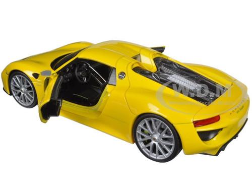 porsche 918 spyder yellow closed roof 1 24 diecast car. Black Bedroom Furniture Sets. Home Design Ideas