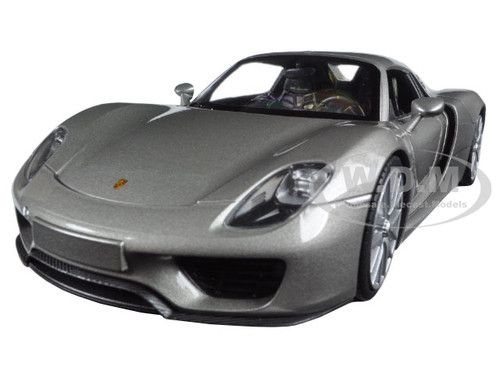 porsche 918 spyder silver closed roof 1 24 diecast model car welly 24055. Black Bedroom Furniture Sets. Home Design Ideas