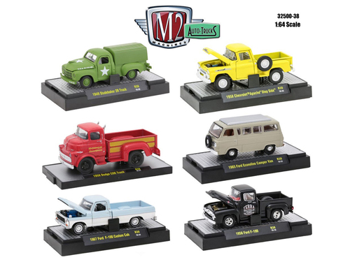 auto trucks 6 piece set release 38 in display cases 1 64 diecast model cars m2 machines 32500 38. Black Bedroom Furniture Sets. Home Design Ideas
