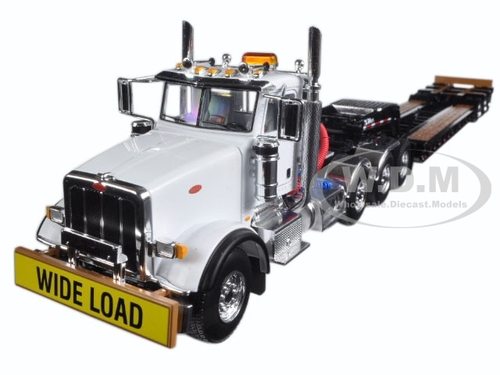 18 Toy Trucks : Peterbilt tri axle lowboy trailer diecast model