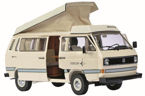 "1979-1990 Volkswagen T3 ""Joker"" Camping Bus Cream/White with Folding Roof 1/18 Diecast Car Model Schuco 450038600"