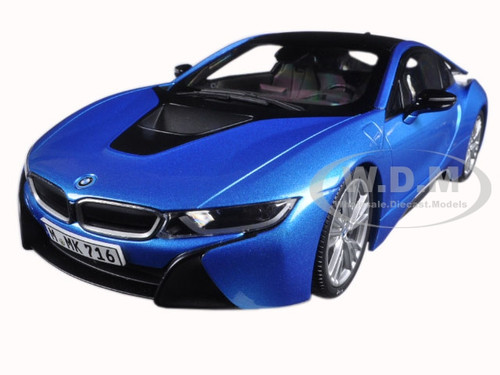BMW i8 Protonic Blue and Frozen Grey 1/18 Diecast Model Car Paragon 97084