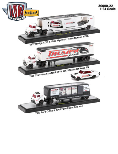 Auto Haulers Release 22, 3 Trucks Set 1/64 Diecast Models M2 Machines 36000-22