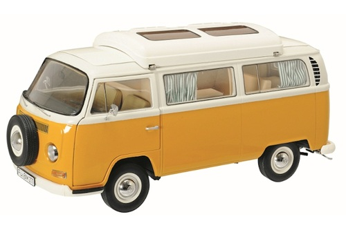 Volkswagen T2A Camping Bus White with Orange 1/18 Diecast Model Car Schuco 450018700