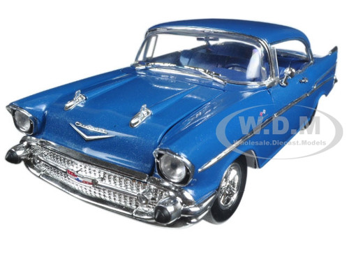 "1957 Chavrolet 210 Hardtop ""Sleeper""- Hot Rod/Drag Car Harbor Blue Metallic 1/24 Diecast Model Car M2 Machines 40300-54A"