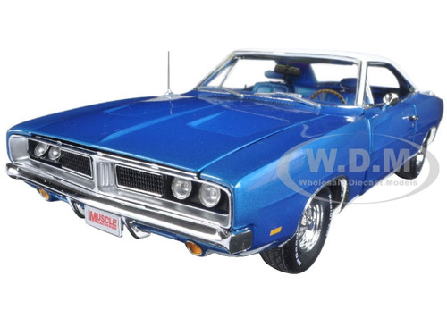"1969 Dodge Charger Bright Blue Poly Appeared in a ""Hemmings Muscle Machines"" Magazine Limited Edition 1002pcs 1/18 Diecast Model Car by Autoworld AMM1100"