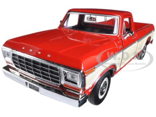 1979 Ford F-150 Pickup Truck 2 Tone Red/Cream 1/24 Diecast Model Car Motormax 79346AC-REDCRM