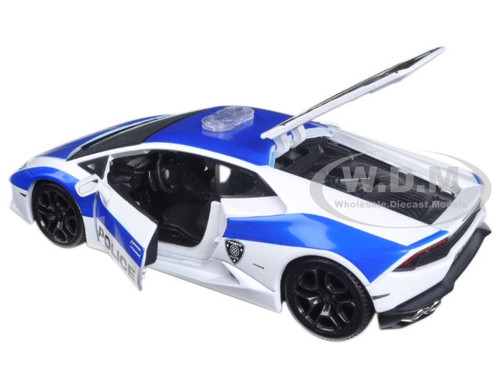 lamborghini huracan lp610 4 police white and blue 1 24 diecast model car maisto 32513. Black Bedroom Furniture Sets. Home Design Ideas