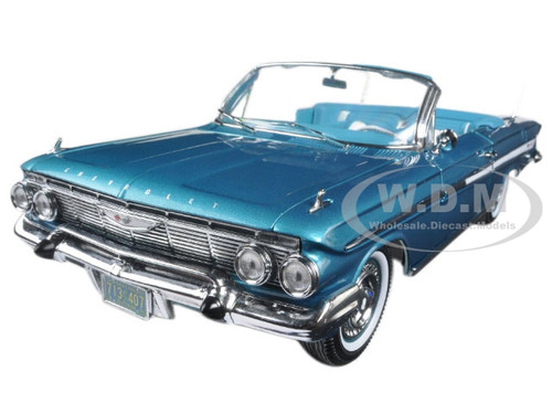 1961 Chevrolet Impala Open Convertible Twilight Turquoise 1/18 Diecast Model Car Sunstar 3407
