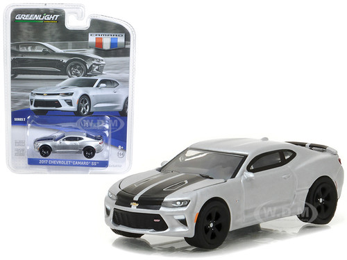 2017 Chevrolet Camaro SS Silver Ice Metallic with Black Stripes 1/64 Diecast Model Car Greenlight 27875 E