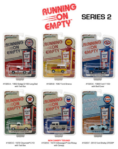 Running on Empty Series 2, 6pc Diecast Car Set 1/64 Diecast Model Cars Greenlight 41020